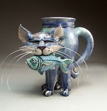 Cat and Fish Mug pottery folk art pottery by face jug maker Mitchell Grafton