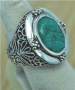 Premières naturelles Emerald Victorian Design 925 Sterling Argent Homme Anneau #BT1