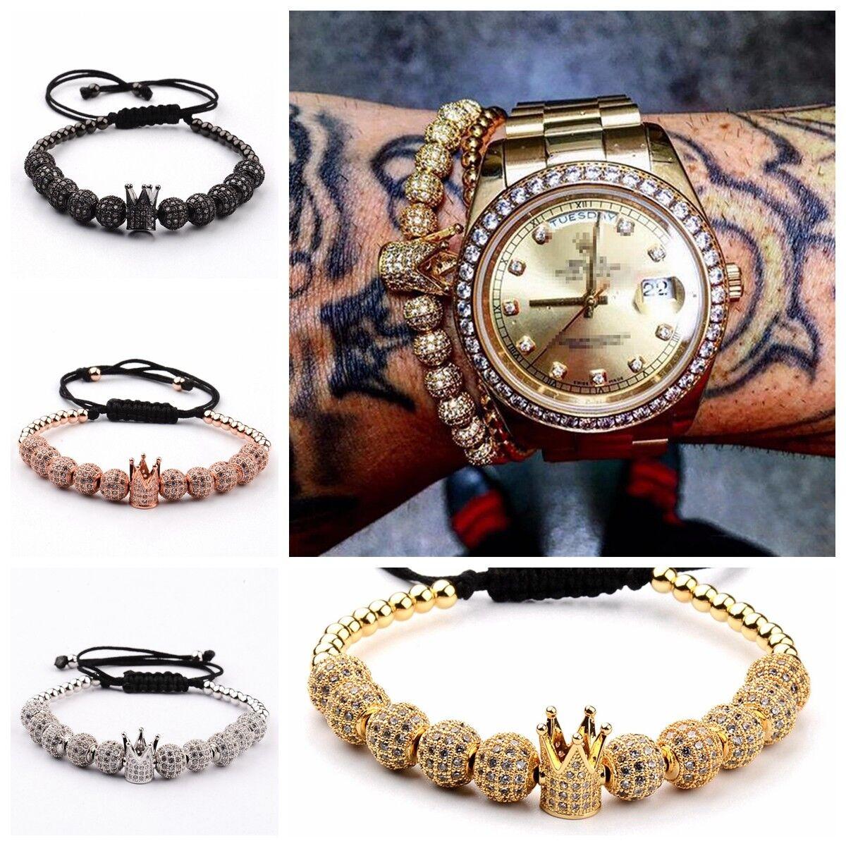 DouVei 1 Crown 10 Pieces zircon Balls Hand-Woven Men's 4MM Copper Beads Bracelet
