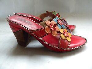 L-039-artiste-Spring-Step-PALMETTO-Red-Floral-Heels-Slides-Sandals-Size-37