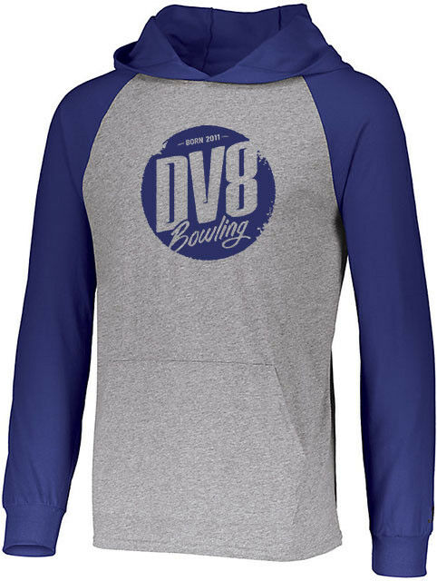 DV8 Men's Vandal Lightweight Hoodie Bowling Shirt DriFit Heather Royal bluee