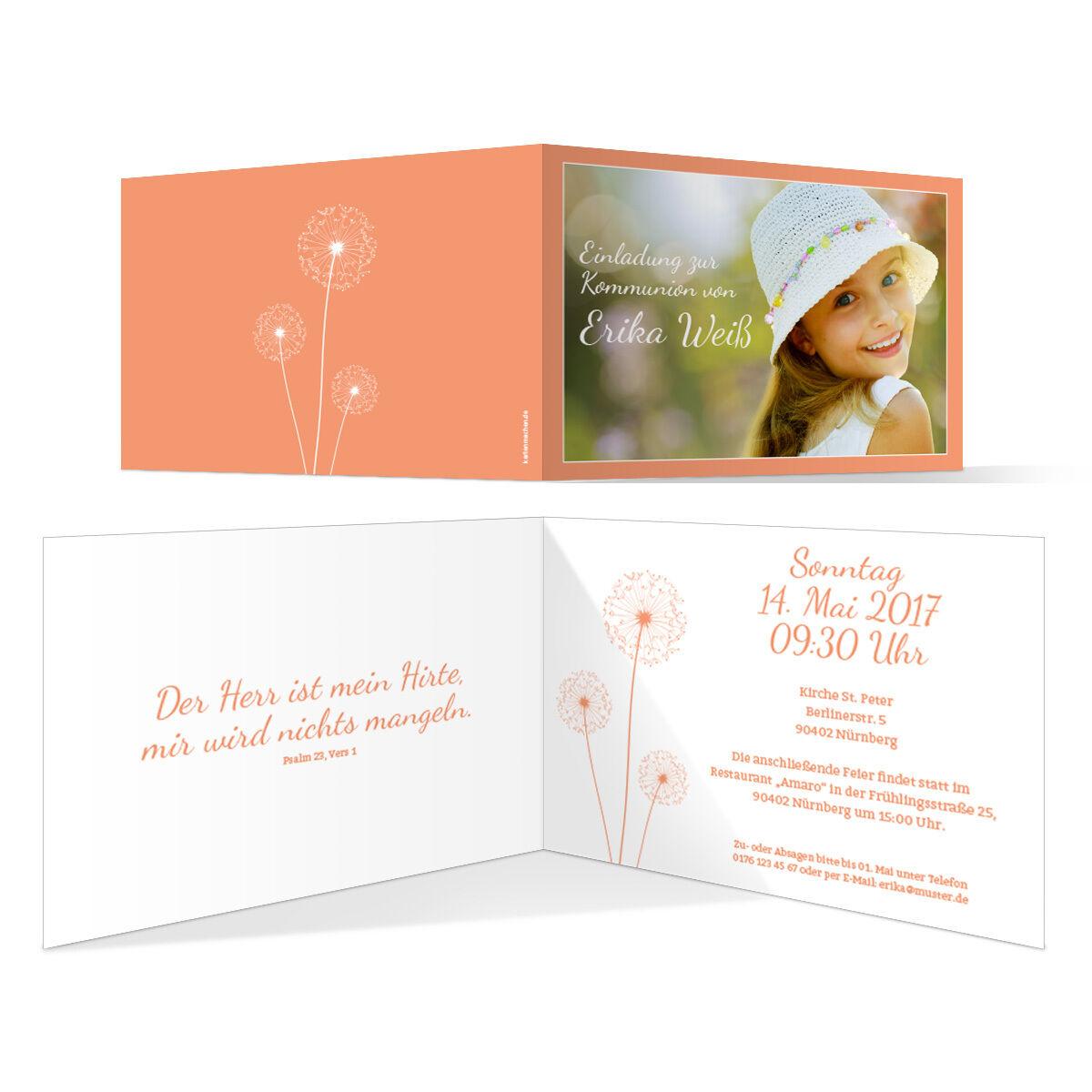 Kommunion Einladungskarten - PusteBlaume in Apricot - Kommunionskarten Einladung | Stabile Qualität  | Queensland