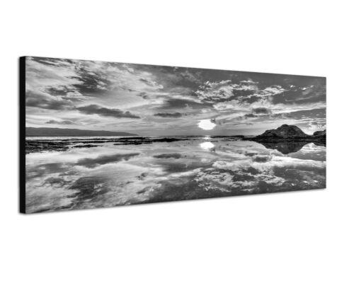 tolle Spiegelung Sonne und Wolken Meer 150x50cm Panoramabild Schwarz Weiss