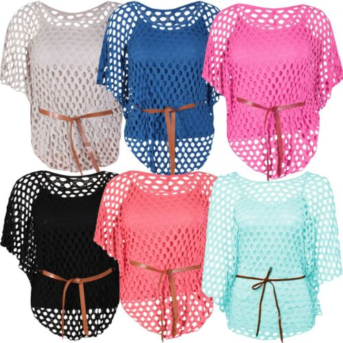Womens Plus Size Crochet Cami Sole Inner Vest Mesh Belted Jumper Batwing 12-26