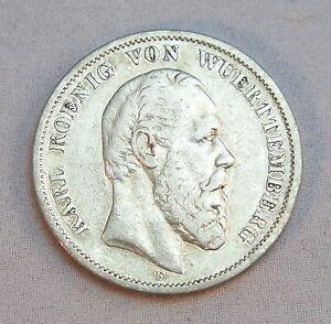 Silbermünze Münze 5 Mark Deutsches Reich Karl König Von Wuerttemberg