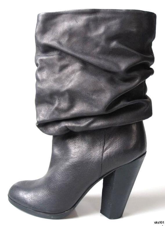 miglior prezzo New MARC JACOBS nero leather leather leather pull-on cuff stivali scarpe - very comfortable  comprare sconti