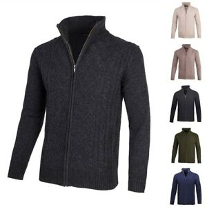 Hommes-Laine-Cardigans-Zippes-Pulls-Pull-over-Col-montant-Mince-Chandail-2