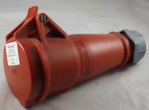 Mennekes 32-6h 240//415v 3P+N+Eth Typ 4 Red Industrial Commando Socket
