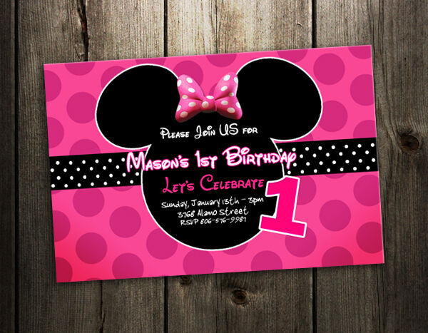 8 Designs Minnie Mouse Birthday Party Invitation Dots Pink Custom