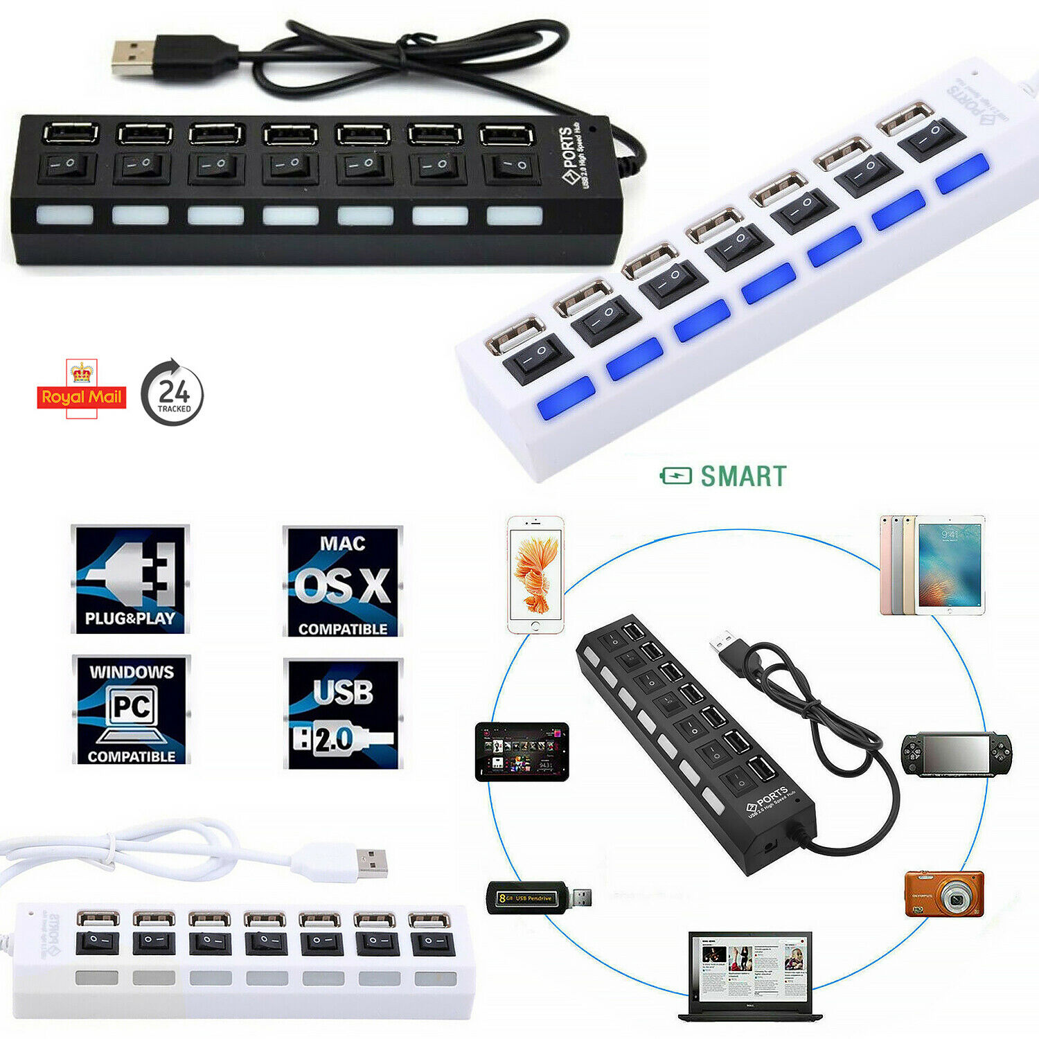 High Performance High Speed 7-Ports, USB HUB 2.0 Expansion various Devices UK