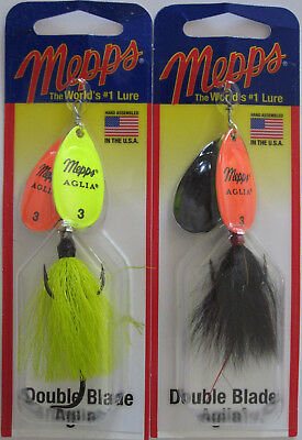 - Two Hot Colors! MEPPS Aglia Double Blade Spinners 2 11//16 oz