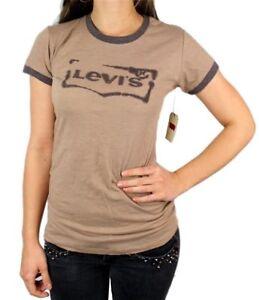 Levi-039-s-Damen-Premium-Klassisch-Grafik-Baumwolle-T-Shirt-Shirt-Tee-braun