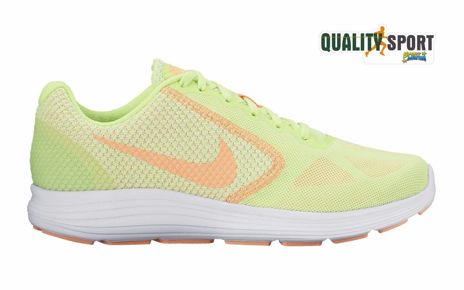 Nike Revolution 3 Verde + Arancio Donna Scarpe 302 Sportive Baskets 819303 302 Scarpe a8ea41