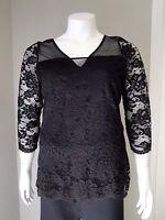 Women's Plus Size Black Lace & Mesh 3/4 Lace Sleeves Top Size 1x 2x Usa