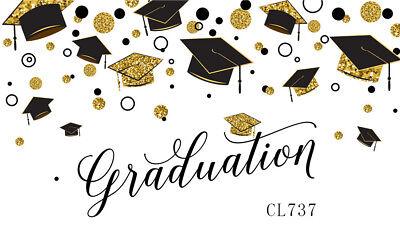 FiVan Black Graduation Caps White Photo Background 7x5ft Congrats Grad Photography Backdrop Graduation Photo Studio Booth Background Photocall W-607