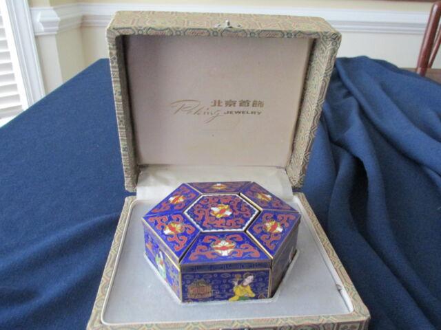 Peking Jewelry Cloisonne Jewelry Box Hexagon Shaped Original packaging box Gift