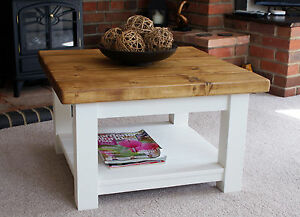 cottage style coffee tables with shelf handmade solid wood rustic ebay. Black Bedroom Furniture Sets. Home Design Ideas