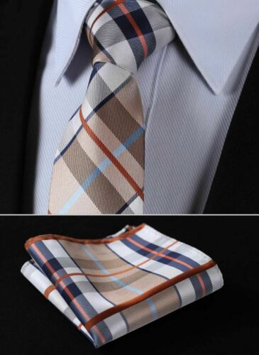 Classic Jacquard Necktie Men Silk Tie Pocket Square Handkerchief Set Suit Formal