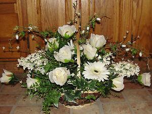 Table centerpiece silk flower arrangements basket bouquets ivory