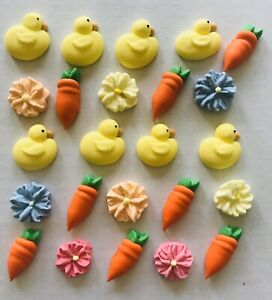 24-Sugar-Icing-Easter-Cupcake-Toppers-Ducky-Carrot-amp-Flowers-Decorations-Cake