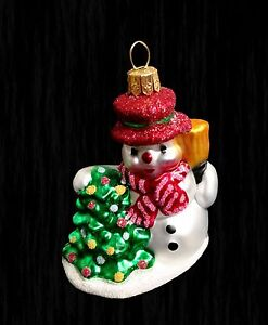 Impuls Hand Painted Mouth Blown Glass Christmas Ornament Snowman Made Poland Euc Ebay