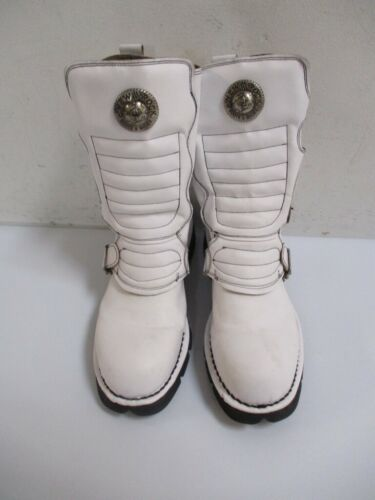 NEW ROCK White Leather COLDER THAN ICE Combat Boot