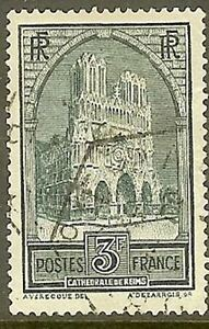 FRANCE-TIMBRE-STAMP-259-C-034-CATHEDRALE-REIMS-3F-TYPE-IV-034-OBLITERE-TB