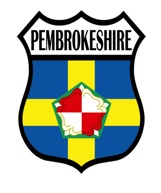 1 x Pembrokeshire County Shield Flag Decal Car Motorbike Laptop Window Sticker