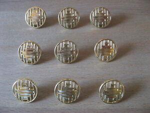 11-Metall-Knoepfe-Farbe-Gold-glaenzend-Durchstochenes-Muster-18-mm-Steg-NEU