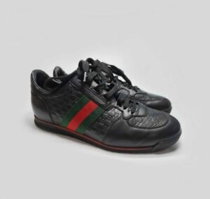 Gucci Sneakers Women Black Strip Black Leather GG Guccissima Logo Low Shoes us 8