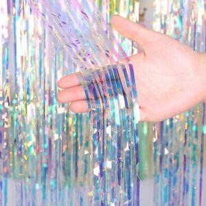 Rainbow-Color-Metallic-Foil-Fringe-Shiny-Rain-Curtain-Guirlandes-Mariage-Fete-Decoration