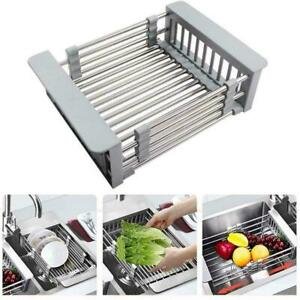 Telescopic-Sink-Drain-Basket-Dish-Drying-Rack-Kitchen-Organizer-Steel-I7Y7