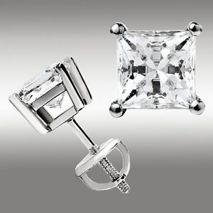 2-00-Ct-Princess-Cut-Stud-Earrings-w-Screw-Back-14K-White-Gold-Ideal