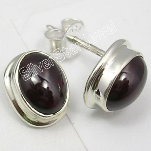 """RED 6 x 8 mm Cabochon Finished Oval GARNET Stone Stud Earrings 0.5/"""" 925 Silver"""