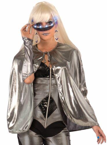 "Metallic Silver Futuristic 25/"" Short Cape Outer Space Hot Diva Costume Accessory"