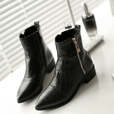 Womens Side Zip Ankle Boots Warm Pointed Toe Flats Synthetic Leather Metal Shoes