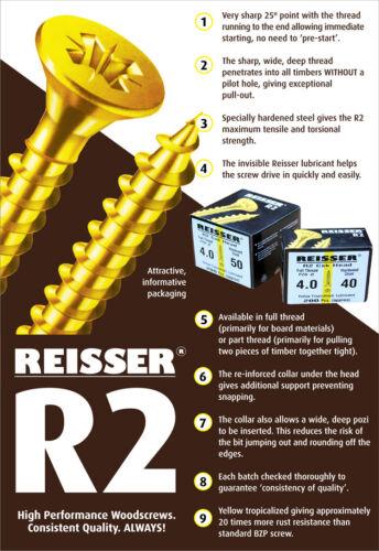 Reisser R2 4 x 70 Wood Screws Countersink PZD2 Yellow PACK OF 200