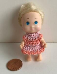 Tiny-Dress-for-2-1-2-034-Tyco-Quints-Doll-Salmon-Pink-Made-in-the-USA-OOAK-Lot-Q-24