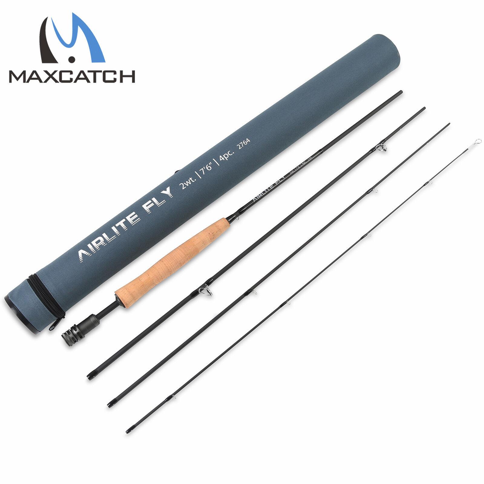 2WT 7'6'' 4Pcs Fly Fishing Rods Light Weight  MediumFast Graphite Fly Rod Tube