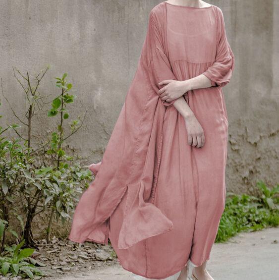 Vintage Loose Caftan Lagenlook Fit Maxi Mulberry 100% Silk Womens Long Dress ADE