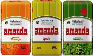 Amanda Yerba Mate Tea SAMPLER Pack - 3 x 150g each - Produced in Argentina