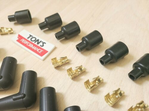 8 Cylinder 7mm 8mm Rubber Spark Plug Boot Kit 2 Stainless Brass Ends Coil Wire