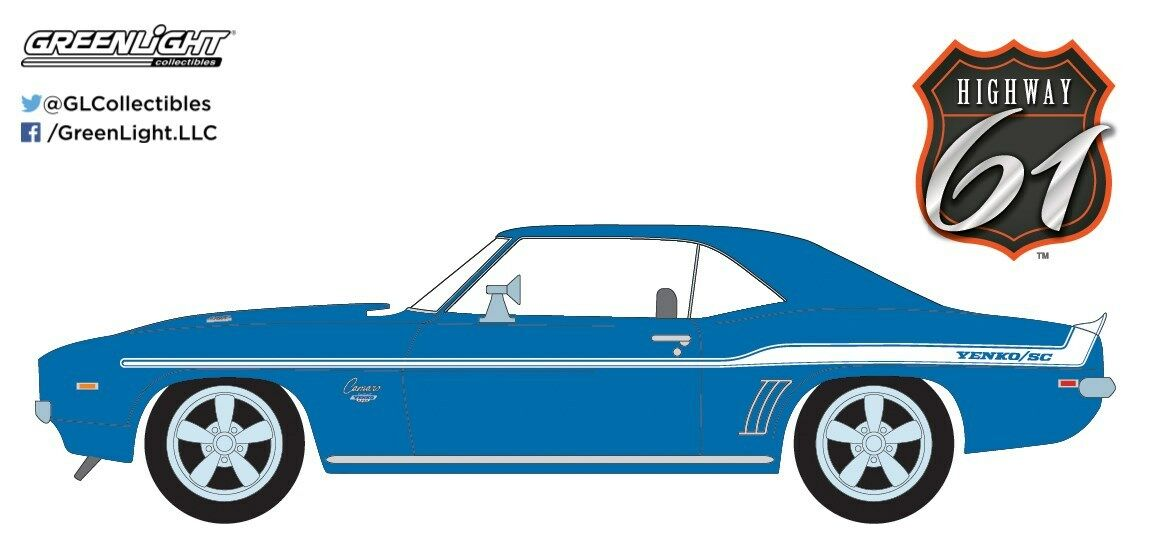 1 18 HIGHWAY 61 BRIAN'S 1969 Chevy YENKO 427 CAMARO LE MANS Bleu Fast & Furious