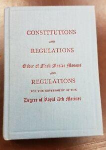 Masonic Book: Constitution & Regulations, Mark Master, Royal Ark Mariner, 1955