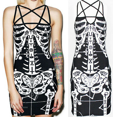Ladies Womens Punk Gothic Rock Skeleton Skull Bones Print Bodycon Tunic Dress