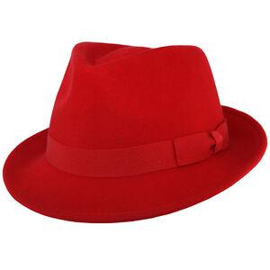 Red Handmade Crushable 100% Felt Wool Trilby Hat - S,M,L & XL, Men & Women