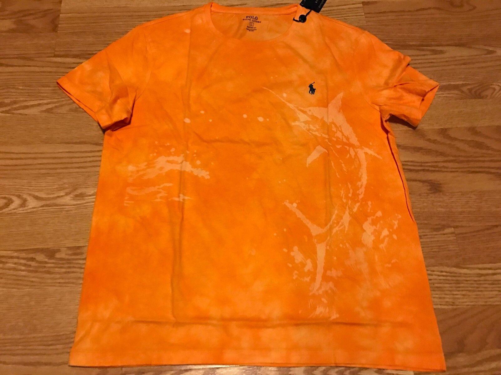 b5d3bc90 Polo Ralph Lauren sun faded distressed sword fish orange t tee shirt pony XL  nwt