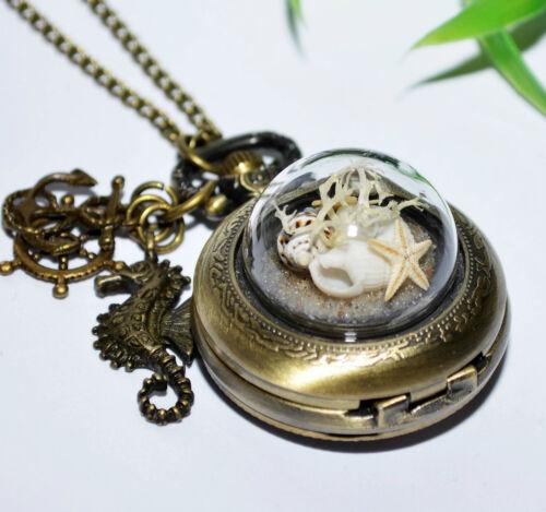 Kettenuhr Uhrenkette Kette Anhänger Uhr Halskette Muscheln SEESTERN + MARITIM