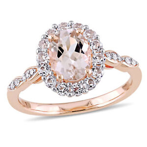 Amour Oval-cut Morganite, White Topaz and Diamond Accent Halo Ring