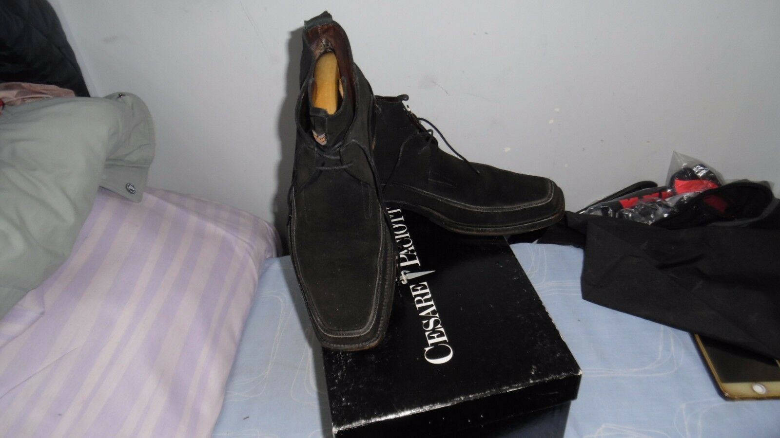 CESARE PACIOTTI MADE IN ITALY Men's Black Suede Leather shoes, Uk 6, EU 40